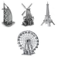 4PCS/Lot Eiffel Tower WINDMLL Ferris Wheel Burj Al Arab Hotel Metal Model DIY Jigsaw 3D Puzzles