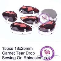 For Popular Decoration Big Size Garnet 18x25mm Tear Drop Sewing On Rhinestones