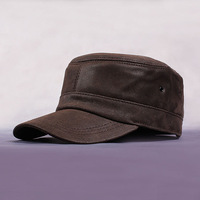 Genuine leather quinquagenarian flat military hat autumn and winter pigskin suede nubuck leather casual cap outdoor cap