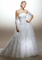 High Grade Western Fashion Wedding Dresses White Embroidery Lace Strapless Slim Bridal Gown Seuqined Vestido de noiva X186