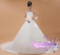 Casamento Wedding Dresses White Satin Court Train Strapless Vestido de noiva with Back Big Bow Plus Size Bridal Gown X185