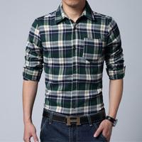 New Popular Men's Long Sleeved Flannel Casual Plaid Shirt Men Checkered Dress Shirts, Slim Stylish Fashion, Drop Shipping