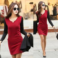 New 2014 Autumn Winter Basic Dress Woman Clothes V-Neck Velvet Package Hip Dresses Wine Red Dresses Female Casual Dresses