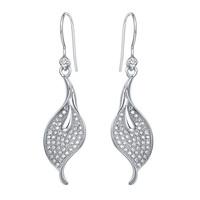 Fashion 925 silver earrings female flowers grass-blade female earring rack long design gift