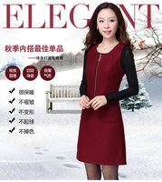 2014 new winter sleeveless Hip package dress woolen vest dress simple and elegant OL womenswear slimming   5