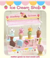 High quality Mother garden Kitchen toys for children Cookware strawberry ice cream machine&frame wooden Children's toys for girl