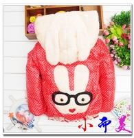 Female girl child plus wool winter wadded jacket polka dot glasses rabbit cotton-padded jacket winter outwear free shipping