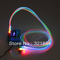 TOP FASION 10 pcs Color Sync LED Lights Up Micro USB Charger Glow Flash Charging Cable Data Lead+Free shipping