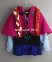 Free shipping Autumn Winter New Arrival frozen anna cape + jacket + braid set,girl jacket,girl coat,5pcs/lot wholesale
