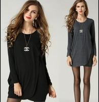 M-5XL 2014 Spring Autumn Women Novelty Asymmetric Plus Size XXXXXL Cotton Long-sleeve Shirt Loose Casual Long Blouses Grey/Black