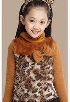 Free shipping 2014 autumn winter children thick warm shirts girls long sleeve t shirts kids shirts bow velvet outerwear t1064
