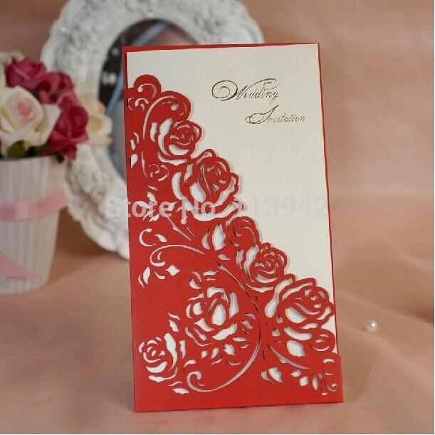 Red Rose Wedding Invitations Elegant Laser Cut Invitation Cards 2014 ...