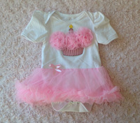baby pink  cupcake with pink  tutu rompers  0-12m baby  dress