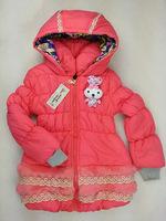 2014 new arrival girls winter coat, girls winter jacket rabbit partten, thicken cotton children winter outwear WCJ-014