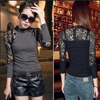 Newly 2014 Autumn Winter Women Blouses Long Sleeve Lace Shirt Patchwork Slim Fit Blusas Renda Femininas Clothes S M L XL XXL