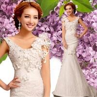 Winter Diamonds One Line Shoulder V-Neck Lace Bridal Mermaid Wedding Dress Flowers Lace Train Wedding Dresses 0800