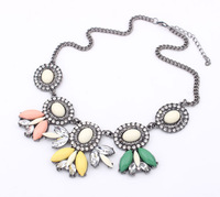 Free shipping 2014 new ethnic resin charm chain necklace candy color statement necklace fashion jewelry