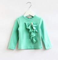 5pieces/lot 2014 Autumn Long Sleeve Pearl Children Girls Ruffles T Shirts, Baby Tops, XL068