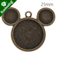 25mm antique bronze plated pendant tray,M-mouse shape,pendant blank,pendant bezel,lead and nickle free,sold 20pcs/lot-C4297
