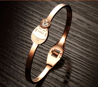 New 2014 Hottest Lucky Cat Cute Gift For Girl Rose Gold Women Cuff Bangle Fashion Cubic Inlaid Steel Bracelets & Bangles