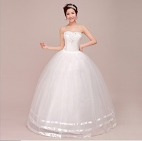 New Bride Wedding Dresses Drill Sweet Bandage Princess Dress Wrapped Chest Ball Gown Wedding Dresses WD056