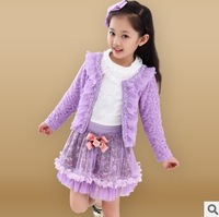 retails new 2014 spring baby girls clothing sets 3 pieces suit girls flower coat + T shirt + tutu skirt girls clothes C2176