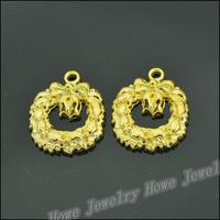 40 pcs Charms Wreaths Pendant  Gold color  Zinc Alloy Fit Bracelet Necklace DIY Metal Jewelry Findings JC577