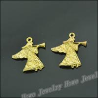 45 pcs Charms Angel Pendant  Gold color  Zinc Alloy Fit Bracelet Necklace DIY Metal Jewelry Findings JC564