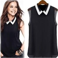 Chiffon Blusas Femininas 2014 Fashion Women Polo Neck Casual Blouse Camisa Roupeas Sheer Tops Blusa Atacado Cheap Clothes Shirts