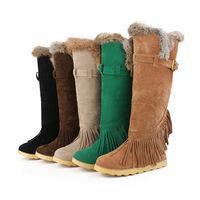 New Winter warm Women Shoes knee high snow Boots Rabbit fur Tassels Big size