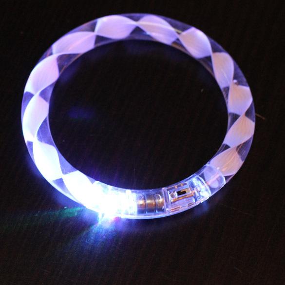 FreeFreight Transparent Texture LED Flashing Color Changing Bracelet Glow Bracelet C#S8(China (Mainland))
