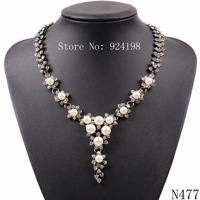 2014 new model fashion brand chain rhinestone pendant pearl necklace for women cheap price statement choker jewelry for ladies