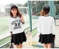 2015 New Autumn Fashion Thick  Round Neck Long Sleeve Stripe Baseball uniform tops t shirt Women outerwear sweatshirt shirt
