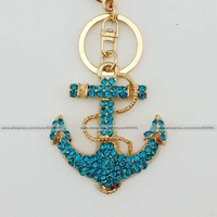 Fashion blue sapphire rhinestone crystal anchor Keychain Alloy ring Bag purse package Charm chain jewelry accessories pendant