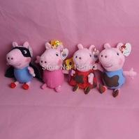 4pcs 19CM Magical Princess Fairy mud Peppa Pig & Super Masked mud George Pig Plush Soft Toys Stuffed Pepa Dolls Baby Kids Gifts