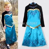 20Set Baby Girl Frozen Elsa Anna Blue Retro T-Shirt Top+Skirt 2Pcs Set Children Long Sleeve Cosplay Princess Clothing Suit