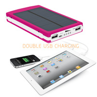 New Rose 10000mAh Dual USB Solar Power Bank Backup Battery Solar Charger For mobilephone iphone6/plus Samsung HTC Blackberry ect