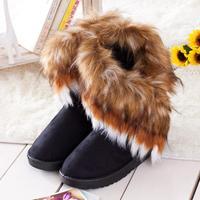 Fashion Autumn Women boots Warm shoes Imitation fox fur snow boots