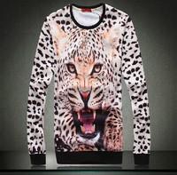 2014 autumn 2015 spring new men t shirts high quality Leopard Print 3D Effect Long Sleeve plus size 3XL t shirt men tops tees
