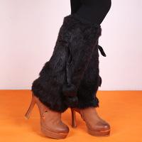 GODBEAD warm fur leg sleeve solid black imitation rabbit fur leg warmers socks shoe booties