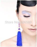 Free shipping,Ethnic handmade tassels earrings blue fashional embroidered blue long earrings