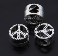 2pcs/lot 925 Silver 3D peace logo big hole bead new arriveal European Beads Fits clam pandora Bracelets necklaces pendants
