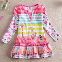 2014 NEAT Kids Girls Dresses Spring flowers splicing new Slim false two princess dress wholesale and retail L323