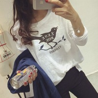 NEW 2014 Women fashion birds printing cotton t shirts long sleeve casual t-shirt 2 color 24902