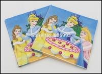 Food-grade Princess Paper Napkin Cinderella Event & Party Character Tissue Napkin Supply Decoration Paper 33cm*33cm 1pack/lot