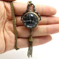 Retro Vintage Fish Eye Black Dial Glass Ball Pendant Pocket Watch P12