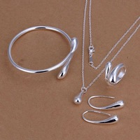 Factory price top quality 925 sterling silver drop jewelry sets necklace bracelet bangle earring ring free shipping SMTS222
