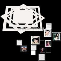 3D Acrylic Wall Stick Photo Frame Sticker Home Room Decor Square Stereoscopic White DF4737