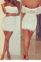 New ropa mujer White Off The Shoulders Party Lace Mini Dress fiesta LC21741 vestido de renda curto branco