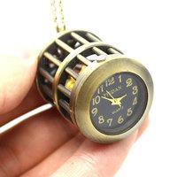 Retro Vintage Bronze Black Dial Birdcage Pocket Watch for Women Men Gift  P14